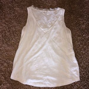 Maurices White Vneck Lace Tank Top Knit L 24/7